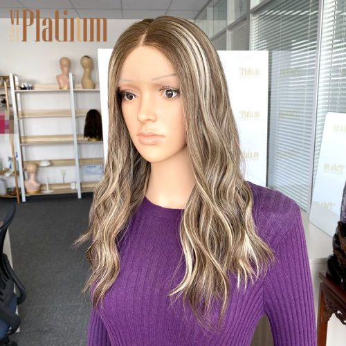 lace top wig 19#ashy blond